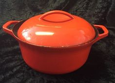 Vintage Colorcast Cast Iron & Enamel Dutch Oven Red Waterford Ireland
