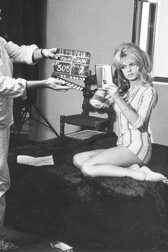 Brigitte Bardot on the set of Le Mepris, 1963.