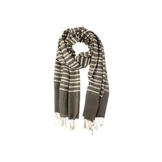 Striped Scarf w/ Twisted Fringe Gray Scarves ($45) ❤ liked on Polyvore featuring accessories, scarves, grey scarves, gray scarves, fringed shawls, gray shawl and grey shawl