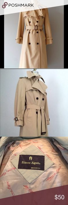 Etienne Aigner size 10 trench Very well made with attention to details. This is a true class trench. Etienne Aigner Jackets & Coats Trench Coats