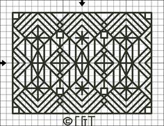 Free Cross Stitch Patterns - Complex Back Stitch Designs: Free Diamonds and Squares Back Stitch Pattern - Free Printable Chart