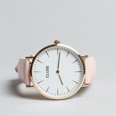 Cluse analogue watch nude leather white dial