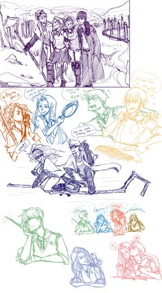 Rapunzel, Jack Frost, Hiccup, & Merida as Hogwarts students! (The Big Four: Sketch Dump by ZLynn.deviantart.com on @deviantART)