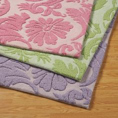 Love these colorful floral rugs for a girls bedroom! For more kids room decorating and organizing ideas visit https://www.facebook.com/KidsRoomDecor you may find something you 'LIKE'