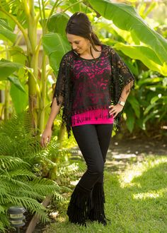 Little Bit Of Lace and Fringe Top Black – The Palm Tree Boutique