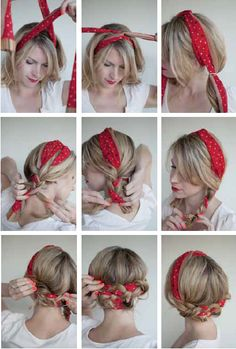 THE POLKA DOT PIGTAILS How to: I've used a large rectangular scarf for this style. If you have a square scarf, fold on the diagonal into about a two-inch wide piece to make this work. 1. Start by placing the scarf around the back of your neck, bringing it up like a headband. Twist it …