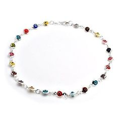Bling Jewelry Multi Color 925 Sterling Silver Evil Eye Anklet Bracelet 10 in. Anklet Jewelry, Anklet Bracelet, Anklets, Bling Jewelry, Glass Jewelry, Jewelery, Jewelry Bracelets, Silver Pendant Necklace, Sterling Silver Bracelets
