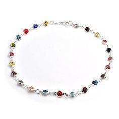Bling Jewelry Multi Color Sterling Silver Evil Eye Anklet Ankle Bracelet 9.5in