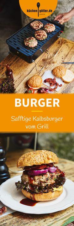 KALBSBURGER VOM GRILL -   Längst haben sich Burger auch in der deutschen Grillkultur etabliert. Und zwar meilenweit entfernt von der Bulettenbraterei zum Durchfahren. Unser Geheimtipp: Burger unbedingt einmal aus Kalbfleisch zubereiten, so werden sie noch saftiger. Mit diesem Rezept gelingt's garantiert.