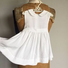 Vintage 60s Baby Dress  1950s 1960s Infant Girl Dress White -  Size 12 Months
