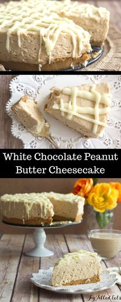 White Chocolate Peanut Butter Cheesecake - Low Carb, Sugar Free, THM S This is so rich and decadent it is perfect for special occasions and holidays.  via @joyfilledeats