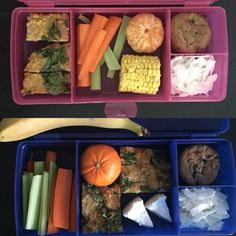 "Top lunch box = 4 1/2 year twins : fried rice slice, celery, carrot, corn, mandarin, coconut chips & banana blueberry muffin. Bottom lunch box is Miss 13 & Miss 11 : the same as the twins just larger serves & they have cheese instead of corn, as I only had 2 pieces of corn leftover from last nights dinner! Miss 11 also has a banana as she has ""fruit break"" as well as morning tea & lunch. SLICE & MUFFIN recipes can be found in my most recent Cookbook ""Cut out the Crap Lunchbox Solutions"""