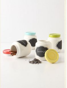 Anthropologie DIY inspiration: baby food jars + spray paint + chalkboard labels {love the fun colored lids}