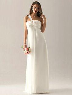 Empire One Shoulder Floor-length Chiffon Over Elastic Satin Bridesmaid  Wedding Party Dress Silhouette 4b62244ad365
