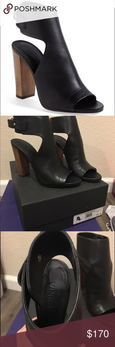 """Vince """"Addie"""" booties sandals sz 7.5 black leather Gorgeous pair of Vince booties/sandals in black leather.   Worn twice in excellent condition.  Comes with original box.  Size 7/12 Vince Shoes Ankle Boots & Booties"""