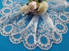 1 yard White Embroidered Lace Trim 16 cm wide #192