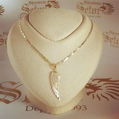 - yellow and white gold - 16 inches - 2 years warranty (warranty includes repairs and cleaning) Angel Wing Pendant, Angel Wings, Gold Necklace, White Gold, Chain, Jewelry, Jewels, Schmuck, Jewerly