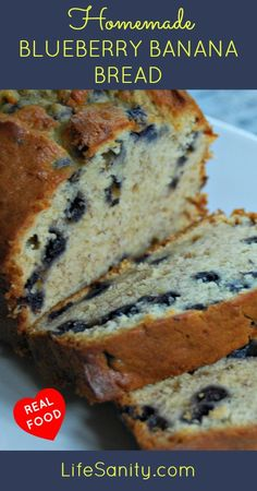 Homemade Blueberry Banana Bread   @lifesanity Totally trying with #gf flour and coconut oil! YUMMY!