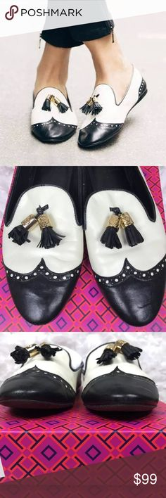 Tory Burch Gaudio Tasseled Smoking Slipper Loafers 100% Authentic Tory Burch Black Cream Tasseled Gaudio Loafer Smoking Slipper Shoes Size: 8.5.. No box or dust bag included. Tory Burch Shoes Flats & Loafers