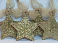 Wooden Ornaments Gold Star Set of Four by PalmerUnionDesign, $37.00