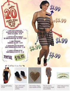 """599fashion.com - Check out this weeks """"PLUS SIZE - UNDER $20 Outfit"""", a complete look for under $20.00."""