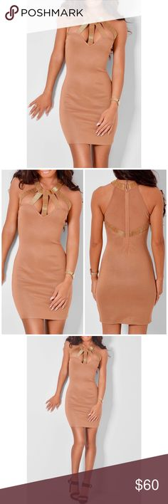 Wow Couture Bandage Dress! Drop dead gorgeous tan/ flesh tone and gold bandage inspired dress from Wow Couture! Size Large ( runs a little big) fits more like an XL. Hugs the body and all your curves but is easy to move in! Sexy! Sexy! Sexy! Never worn NWT! Like what you see but not the price make me an offer! 😉 Happy Poshing! 💜 WOW couture Dresses Mini
