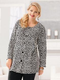 Ulla Popken Plus Size Dimensional Jacquard Knit Jacket $49.00