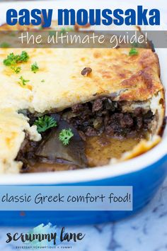 The ultimate guide to making an easy Greek moussaka. Layer up delicious roasted eggplant, meat sauce, and bechamel, and transport yourself to the shores of the Mediterranean instantly! #Mediterranean #Mediterraneandiet #moussaka #greekfood #greece #eggplant #greeklasagna #scrummylane #groundbeefrecipes