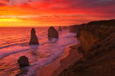 Red Hot Rocks. by Darren J Bennett on 500px 12 Apostles, Great Ocean Road, Port Campbell.