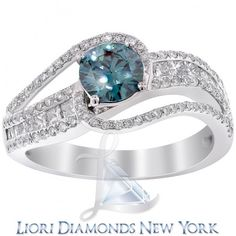 2.27 Carat Fancy Blue Diamond Engagement Ring 14k White Gold Vintage Style - Blue Diamond Rings - Color Rings - Lioridiamonds.com