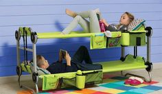 Portable Bunk Beds For Kids If you have city kids that feel uncomfortable on the grass or mud when camping, this portable Kid-O-Bunk bed will be a life saver from all the whining. kid-o-bunk-portable-bunk-beds-for-camping-also-converts-into-a-sofa-thumb