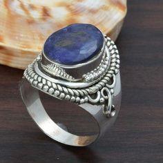 SAPPHIRE 925 SOLID STERLING SILVER FASHION RING 7.29g DJR5720 #Handmade #Ring