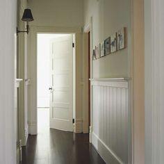Serene hallway:  beadboard; paint color; doors
