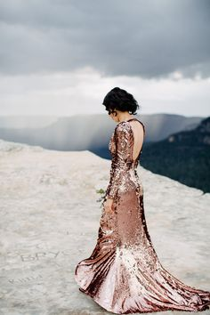 Yosemite Wedding - This Glamorous Blue Mountains Elopement features a stunning sequinned wedding gown, sweeping mountain vistas and gorgeous pink and plum vintage details. Bridal Gowns, Wedding Gowns, Wedding Ceremonies, Wedding Attire, Wedding Hair, Yosemite Wedding, Sequin Wedding, Sequin Gown, Wedding Tips