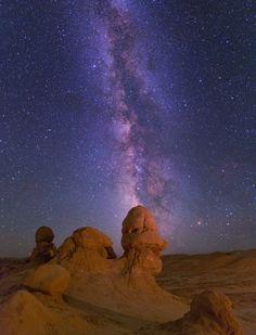 Milky Way over Goblin Valley State Park, Utah.