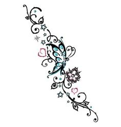 Tribal+flower+butterfly+tattoo+style+vector+1534763+-+by+christine ...