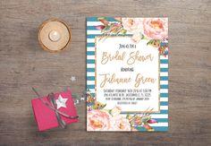 Summer Bridal Shower Invitation, Boho Bridal Shower, Bohemian Blue & Pink Floral Bridal Shower Invitations. For more bohemian invitations, check the following link: tranquillina.etsy.com