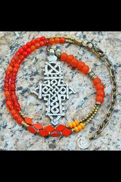 Choose Your Color Everyday Tribal Ethiopian Cross Pendant Necklace: Orange Mixed Media Y Cross Necklace Tribal Jewelry, Beaded Jewelry, Dangle Earrings, Pendant Necklace, Cross Pendant, Jewelry Collection, Jewelery, Bangles, Pendants