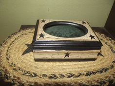 Primitive Crackle Wood Jewelry Box ~ Black Stars ~ Country Decor #NaivePrimitive