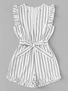Frill Trim Striped Romper - Jumpsuits and Romper Teen Fashion Outfits, Kids Outfits Girls, Girl Fashion, Girl Outfits, Fashion Black, Fashion Ideas, Cute Casual Outfits, Cute Summer Outfits, Outfit Summer