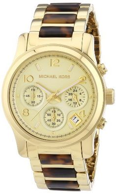 ab40b7d57b16 Michael Kors Runway Tortoise Chronograph Gold Tone Watch off retail