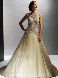 Alluring Halter Applique Hottest Organza Sweep Length Wedding Gown (WD2013-018) - use opaque fabric in place of the sheer, add full sleeves, whole dress deep teal blue with bronze/gold or copper embroidery. Change neckline to mandarin collar v neck. Under the overlay full length vest, wear a dark blue teal gown (it's full sleeves, closing at wrist, will show with the vest on),  with loose bodice that drapes over waist in a bateau neck line, slightly fitted in hips. In between wedding and…