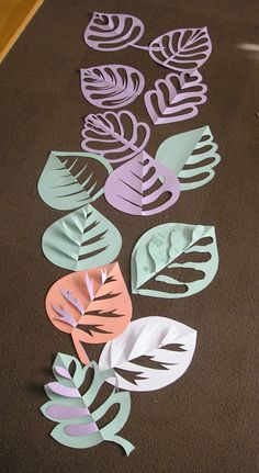 leaves-would be cool to do with painted newspaper, definitely colored paper