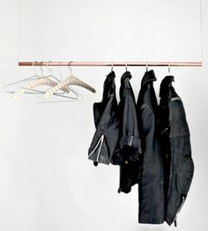 #DIY  a simple clothing rack using copper piping and some cable