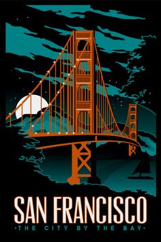 San Francisco Golden Gate Bridge Night Series Retro Vintage screen printed poster