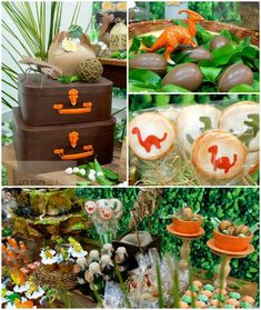 Dinosaur themed birthday party with Lots of Fabulous Ideas via Kara's Party… Dinasour Birthday, Dinosaur Birthday Party, Boy Birthday Parties, 3rd Birthday, Birthday Ideas, Festa Jurassic Park, Kids Party Decorations, Party Ideas, Party Fiesta