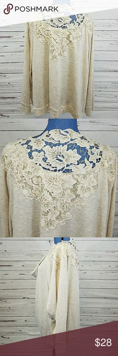 NWT Pebble and Stone Plus Size Blouse GORGEOUS Golden thread lace design on the back and shoulders!!! Cowl neck. Lightweight fabric in soft colors of sand and cream.  Size 3X. Smoke and pet free home.    💖💖Bundle & Save 💖💖 pebble and stone Tops Blouses