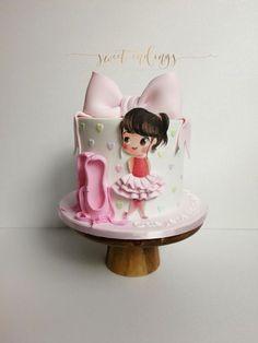 Little Ballerina - cake by Lulu Goh Ballet Birthday Cakes, Toddler Birthday Cakes, Ballet Cakes, Ballerina Cakes, First Birthday Cakes, Birthday Cake Girls, Girly Cakes, Cute Cakes, Fondant Cakes