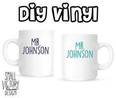 Mr and Mr Coffee Mug Vinyl Decals / DIY by smallvictorydesign