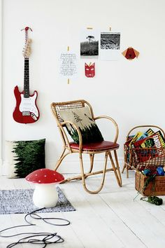 Def. hanging the guitar in Kyler's room redo. Like the art/projects idea. Maybe a tac board instead?